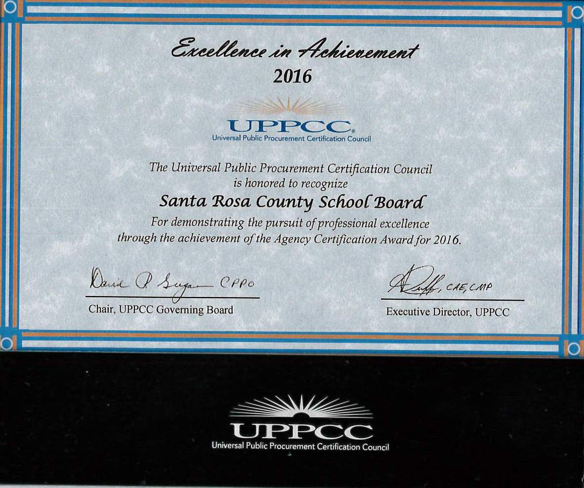 New page 2 the purchasing department has earned the 2016 excellence in achievement award from the universal public procurement certification council uppcc xflitez Image collections